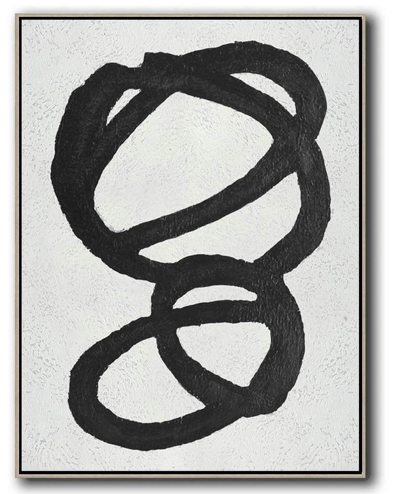 Black And White Minimal Painting On Canvas,Hand Painted Acrylic Painting #V7T0